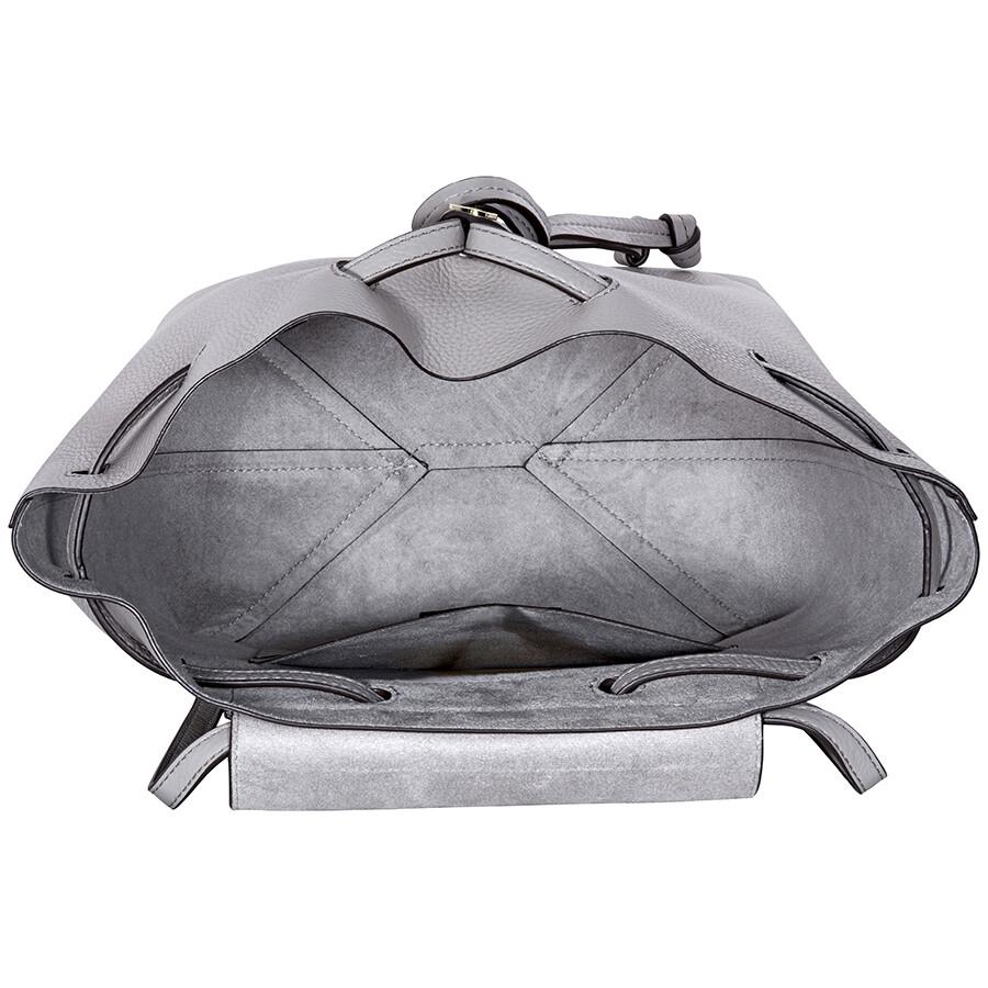 ee43ebddf8e6 Michael Kors Junie Medium Pebbled Leather Backpack- Pearl Grey ...