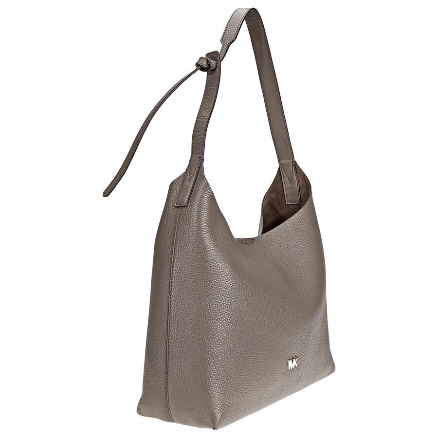 6e2c6bfe90 Michael Kors Junie Medium Pebbled Leather Shoulder Bag- Mushroom ...