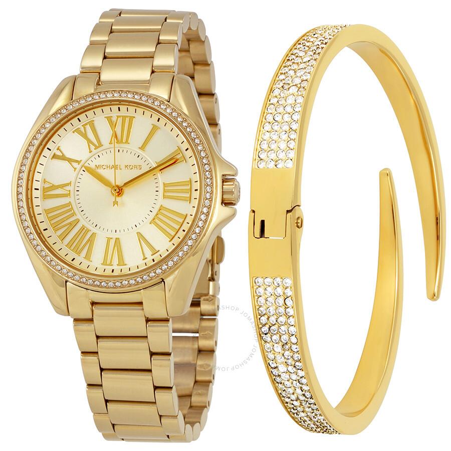 50e335742a Michael Kors Kacie Gold Sunray Dial Ladies Watch Set MK3568 ...