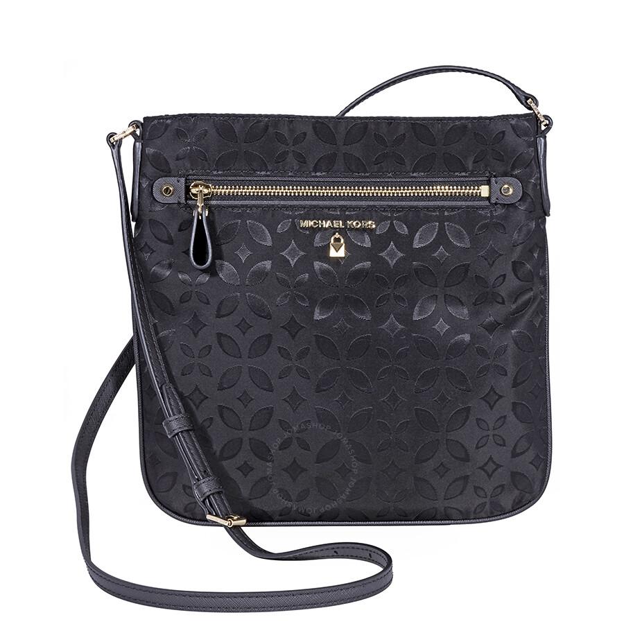 68d8de230576 Michael Kors Kelsey Large Floral Nylon Crossbody Bag- Black ...