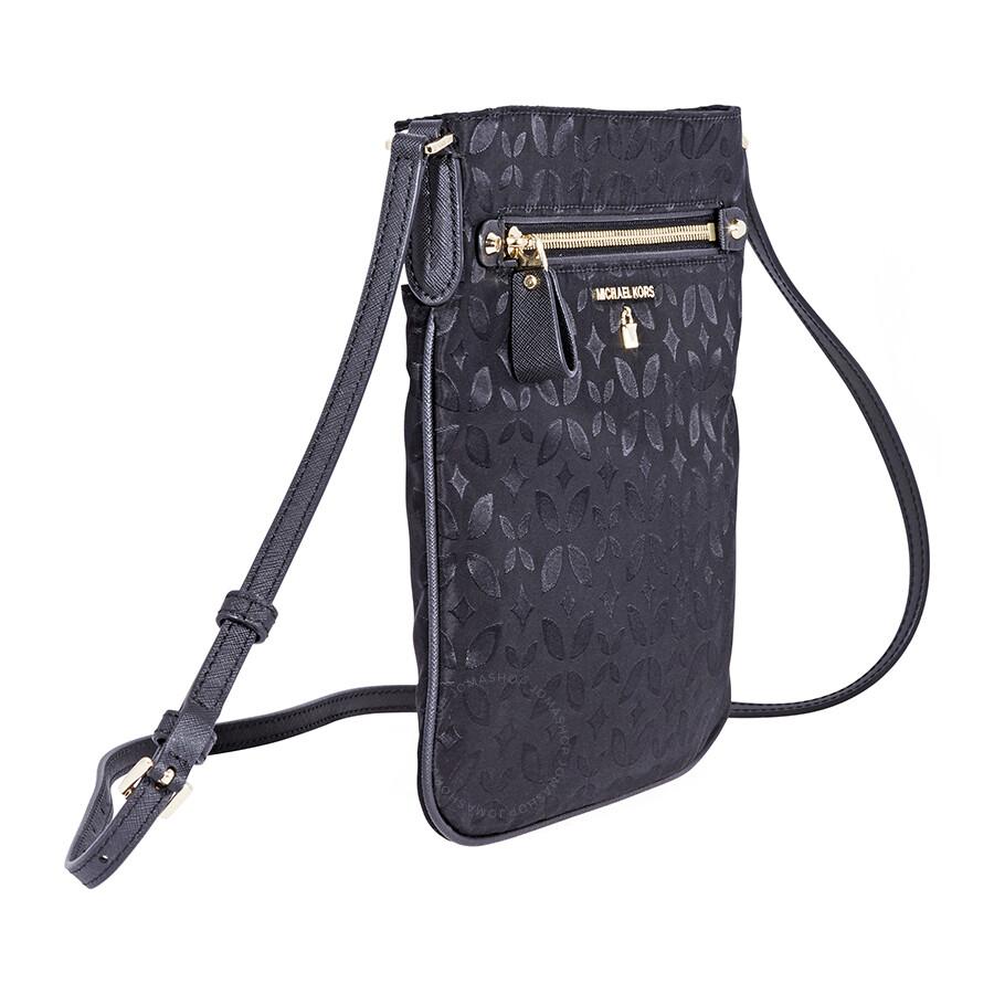 89c7a2b34018 Michael Kors Kelsey Large Floral Nylon Crossbody Bag- Black ...