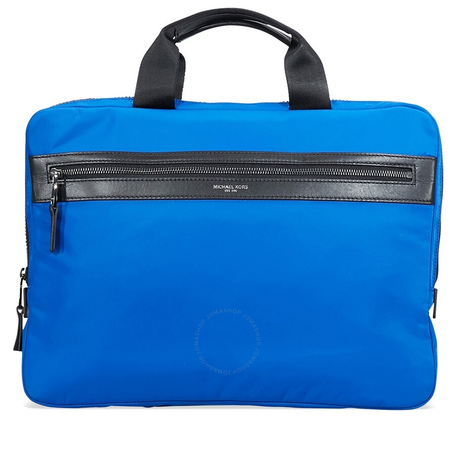 68350c44e73105 Michael Kors Kent Slim Nylon Zip Briefcase- Blue - Michael Kors .