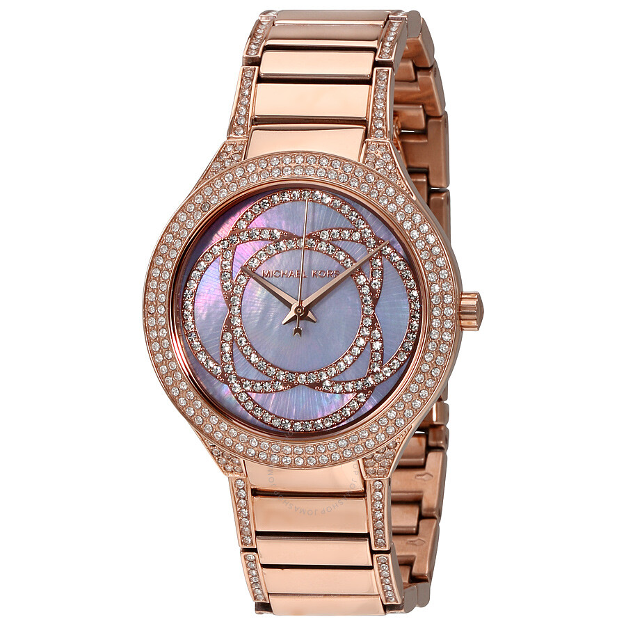 46678fa5159d Michael Kors Kerry Mother of Pearl Dial Rose Gold-Tone Stainless Steel  Ladies Watch MK3482 ...