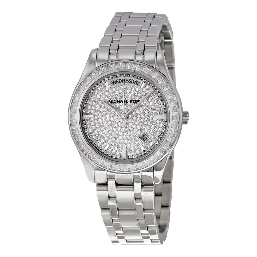 Michael kors kiley crystal pave dial stainless steel ladies watch mk6144 kiley michael kors for Crystal watches