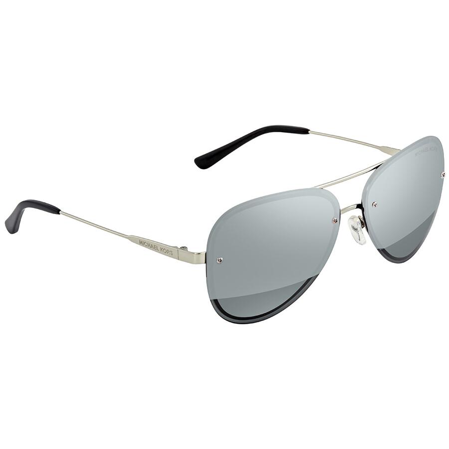 Michael Kors La Jolla Block Gunmetal Mirror Aviator Ladies Sunglasses MK1026 11181Y 59