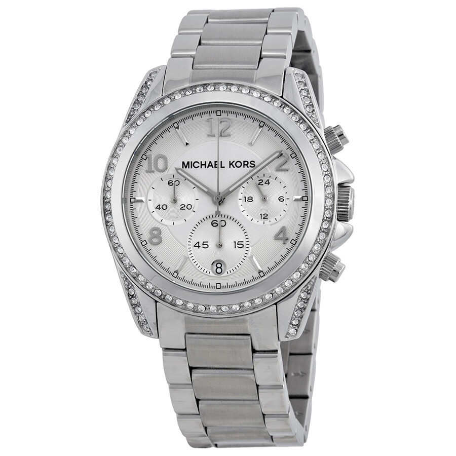 michael kors ladies chronograph white crystal stainless steel watch mk5165 blair michael