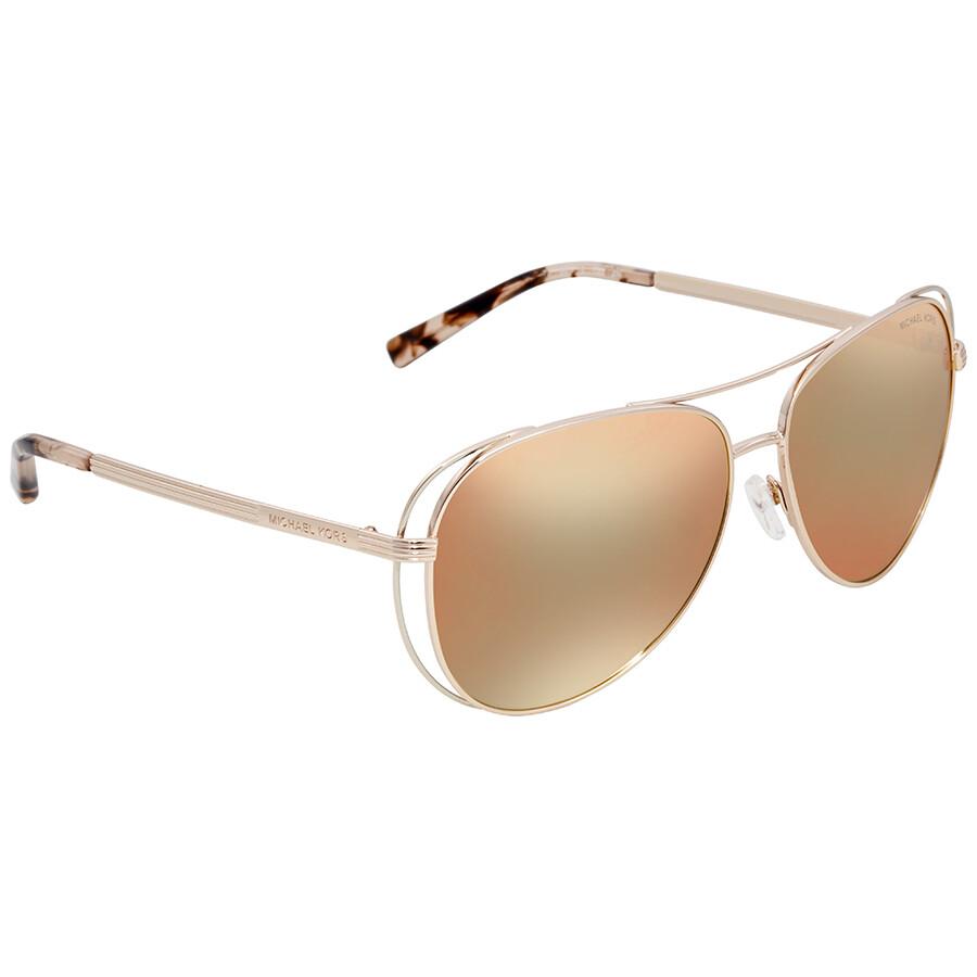 32da5d6b5fb0 Michael Kors Lai Aviator Ladies Sunglasses MK1024 11757J 58 ...