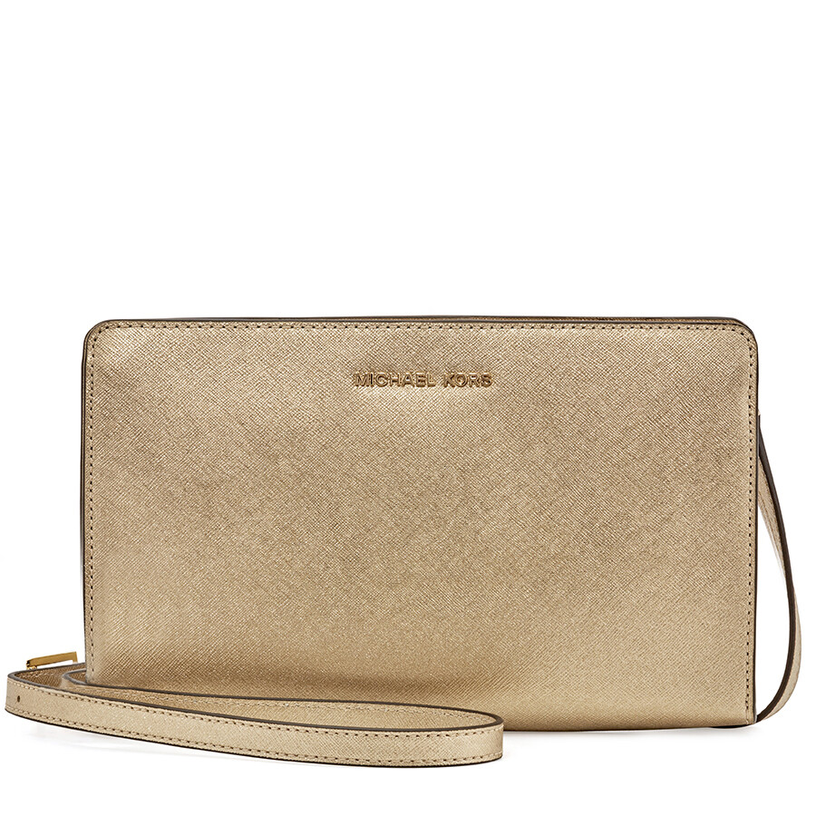 57786056cdf7 Michael Kors Large Jet Set Travel Convertible Crossbody -Plae Gold Item No.  32F6MTVC3M-740