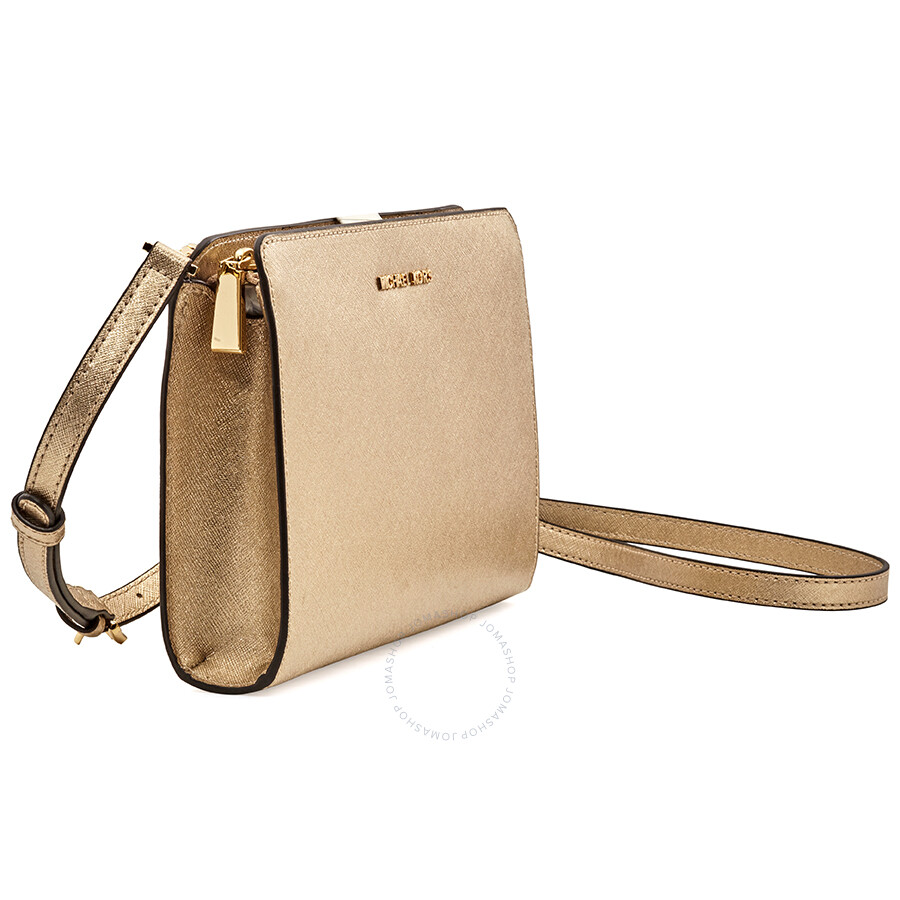 4e7f8f316967 ... Michael Kors Large Jet Set Travel Convertible Crossbody -Plae Gold