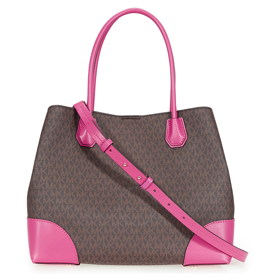 Michael Kors Large Mercer Tote Brown Ultra Pink