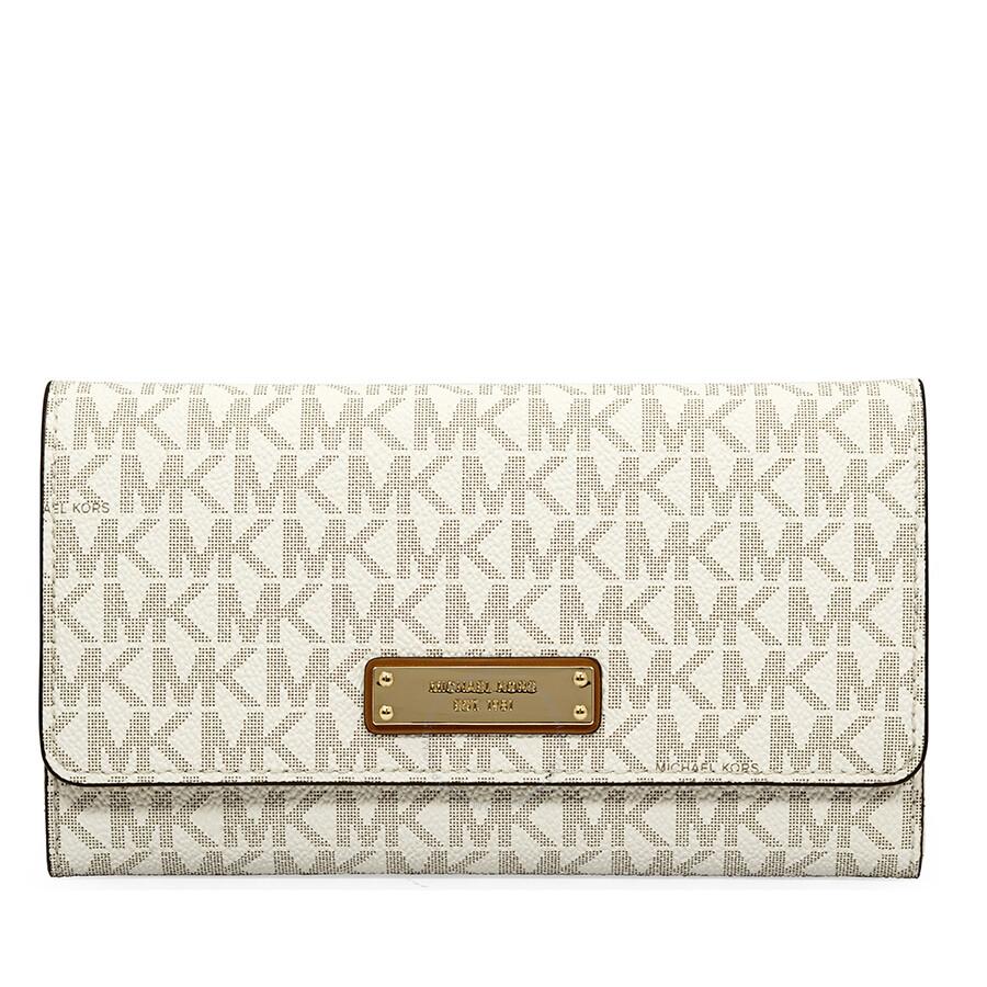 312ad030878c Michael Kors Large Mercer Tri-Fold Wallet- Vanilla Item No. 32T7GTTE3B-150