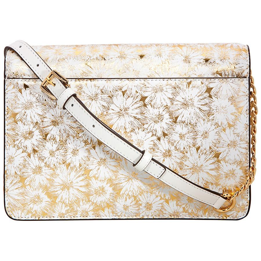 8b68106ab5043 Michael Kors Large Metallic Floral Crossbody Bag - Opt  Gold ...