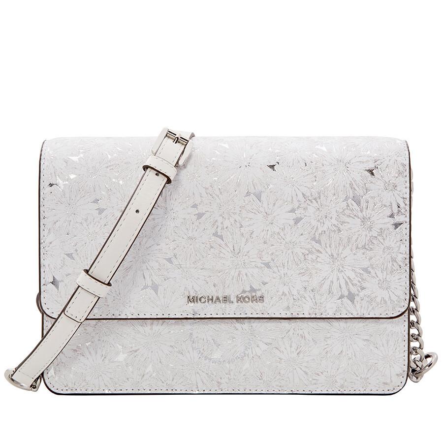 8d83e9f4b329 Michael Kors Large Metallic Floral Crossbody Bag - White Silver Item No.  32S8MF5C7K-764