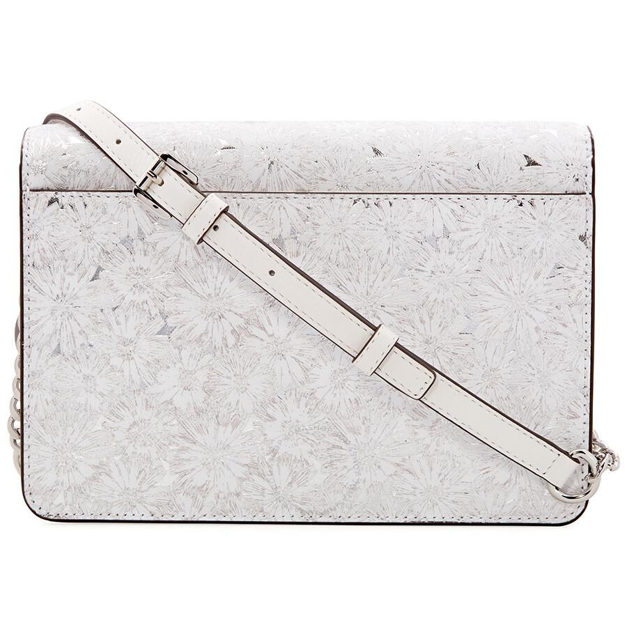 1addbb9be086 Michael Kors Large Metallic Floral Crossbody Bag - White Silver ...