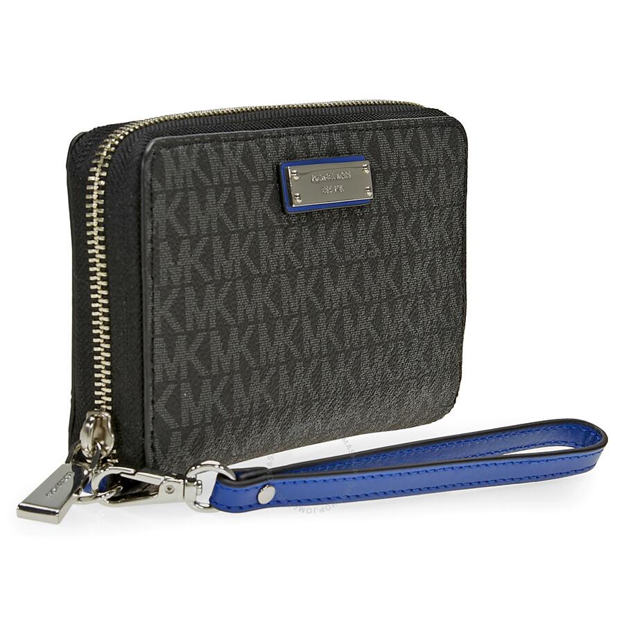 5522709ac2ad2 Michael Kors Large Multifunction Wallet - Black Electric Blue ...