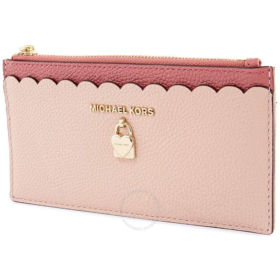 online store f25e2 d2211 Michael Kors Large Slim Zip Card Case- Soft Pink/Multi