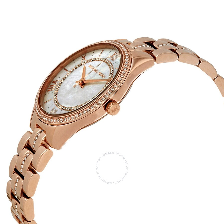 9b61243950cd ... Michael Kors Lauryn Crystal Mother of Pearl Dial Ladies Watch MK3716 ...