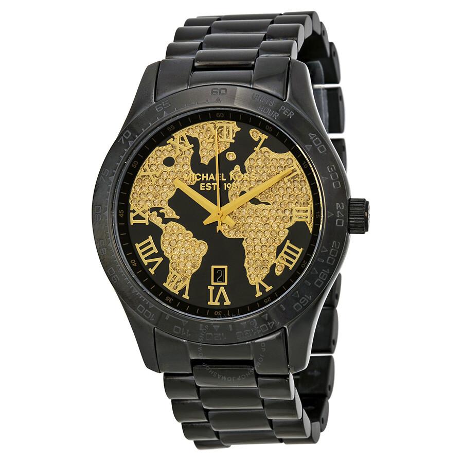 2b5944a477f1 Michael Kors Layton Black Dial Black Ion-plated Stainless Steel Ladies Watch  MK6091 ...