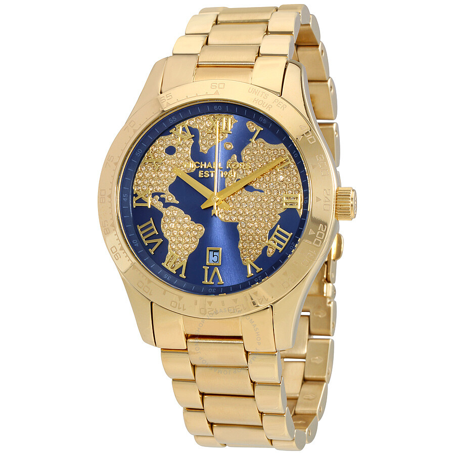 decde4296123 Michael Kors Layton Blue Crystal Pave Dial Gold-tone Ladies Watch Item No.  MK6243