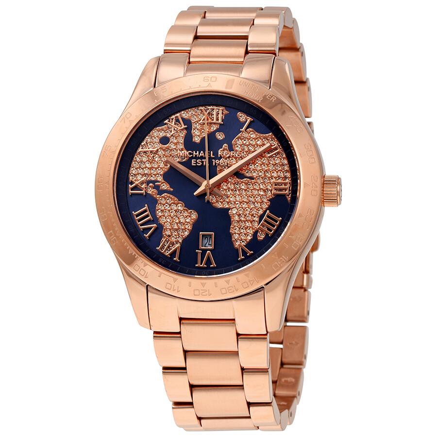 a806af7dc035 Michael Kors Layton Blue Globe Dial Ladies Watch MK6395 - Layton ...