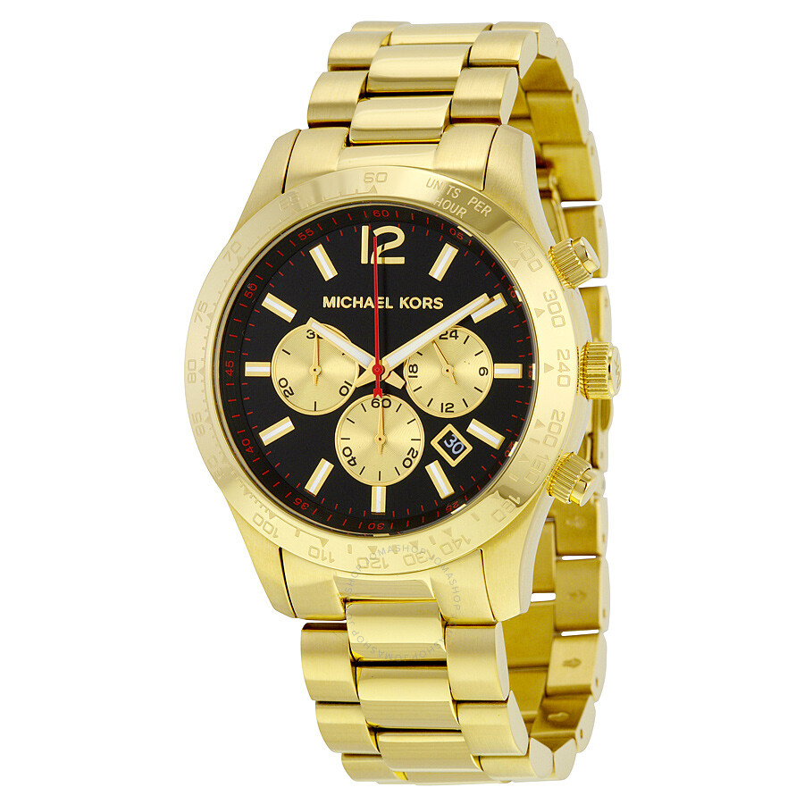 32f245a2742d Michael Kors Layton Chronograph Black Dial Gold-tone Men s Watch MK8246 ...