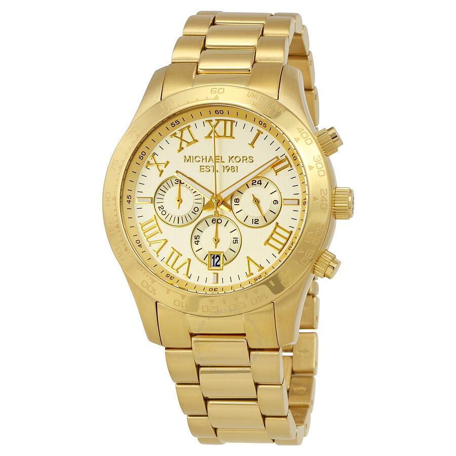 michael kors layton chronograph champagne dial men s watch mk8214