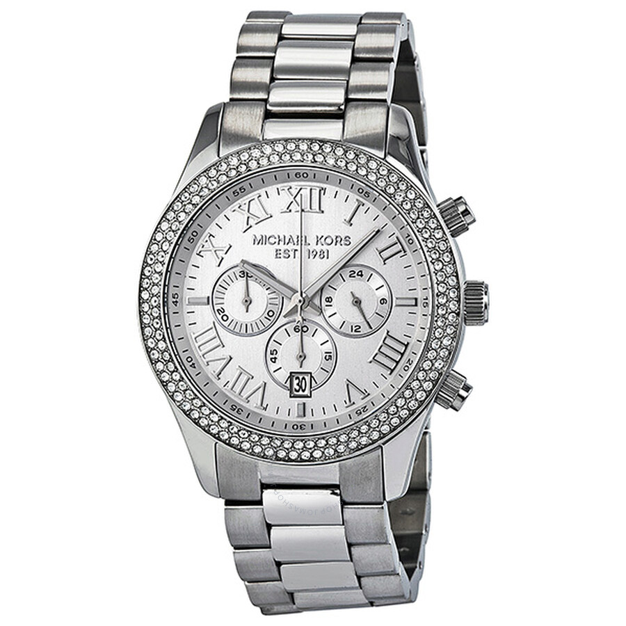 4469d03d0e3c Michael Kors Layton Chronograph Silver Dial Ladies Watch MK5667 ...