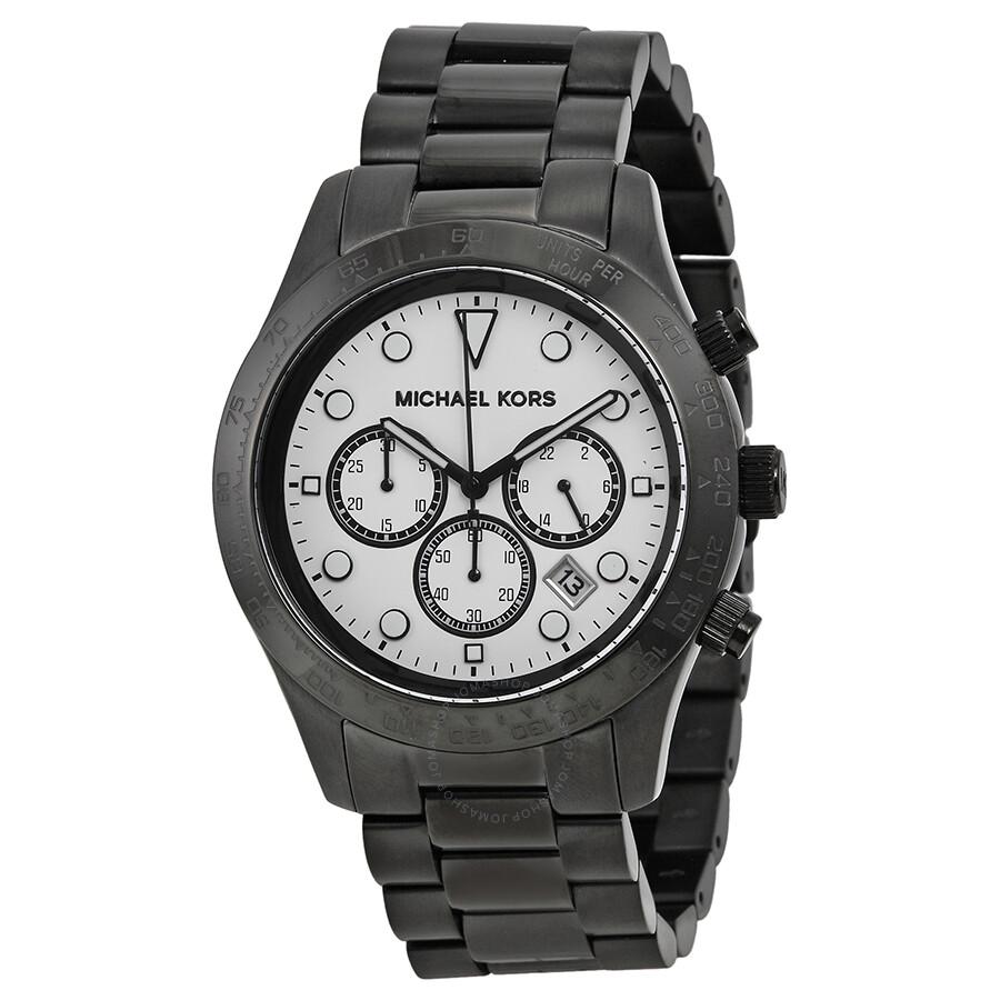 michael kors layton chronograph white black ion