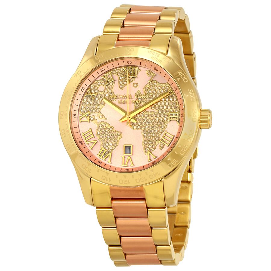 Michael kors layton rose gold tone dial ladies watch mk6476 layton michael kors watches for Gold dial ladies watch