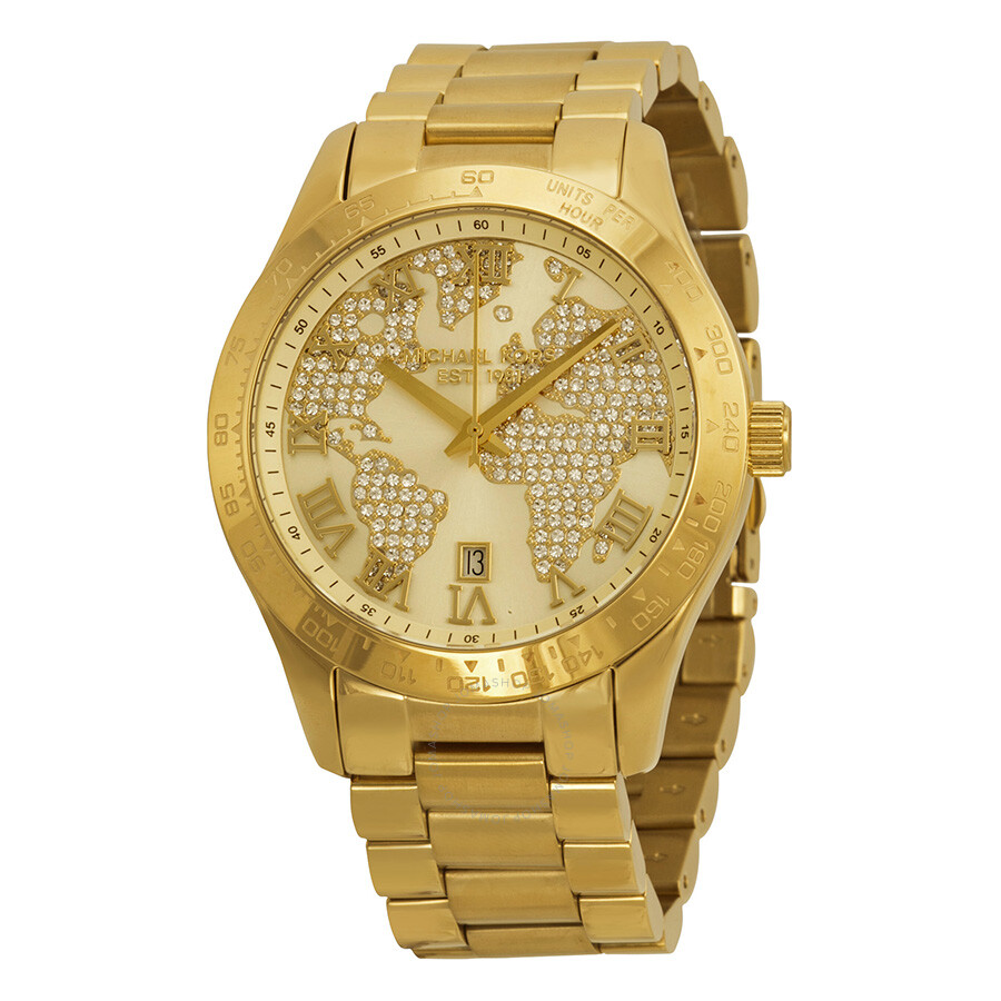 Michael kors layton watch pave embellished engraved map women 39 s watch mk5959 layton michael for Watches michael kors