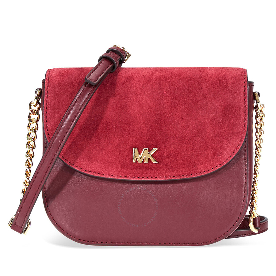 Michael Kors Leather And Suede Saddle Bag Oxblood Maroon