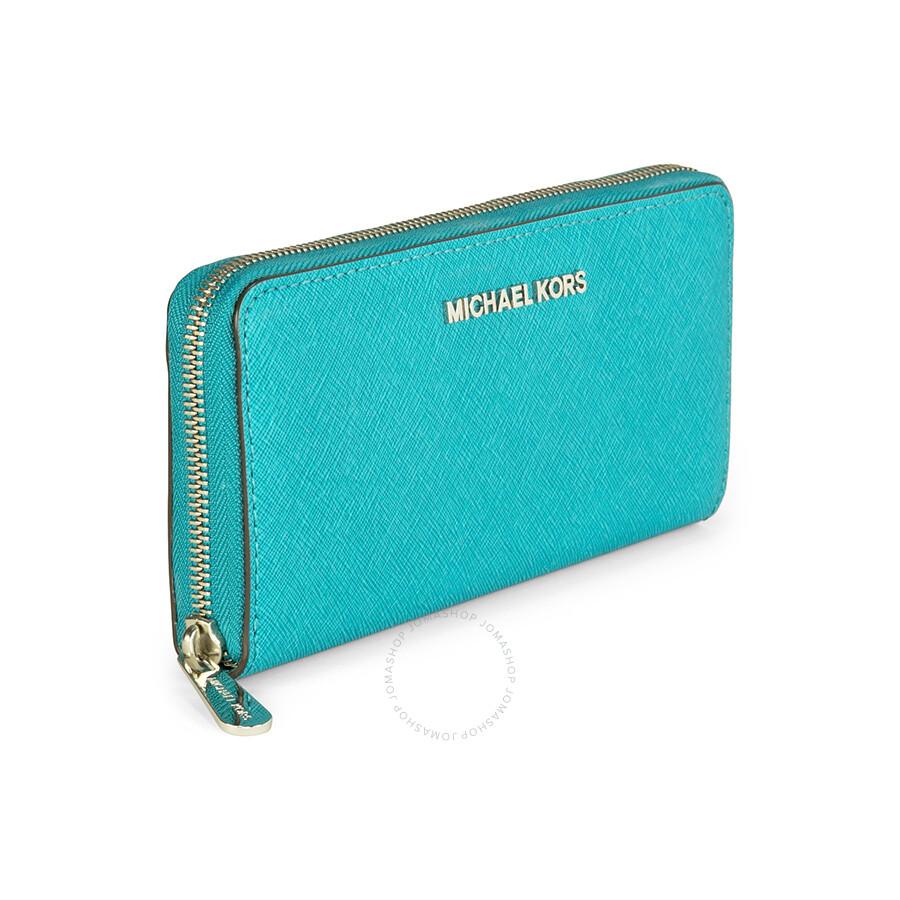 8935e61f3771 Michael Kors Leather Continental Wallet - Tile Blue - Michael Kors ...