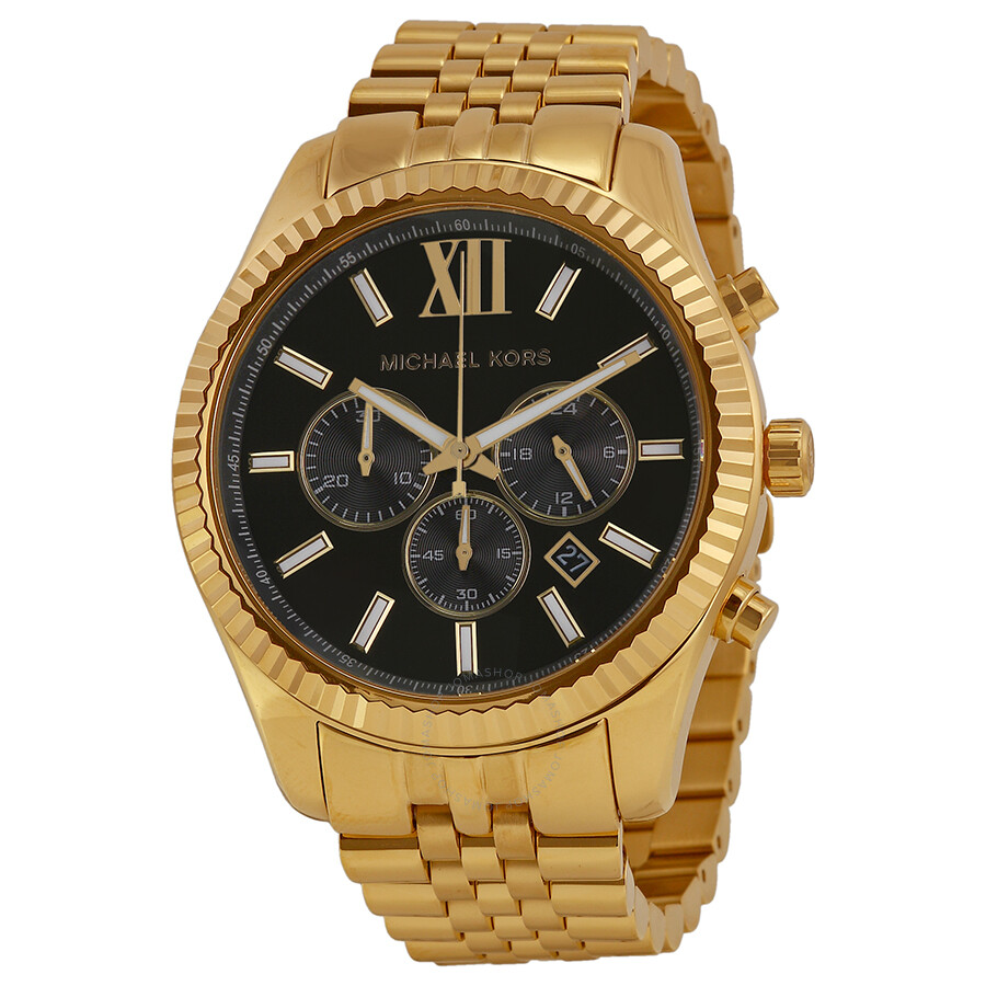 michael kors watches jomashop michael kors lexington chronograph black dial gold tone men s watch
