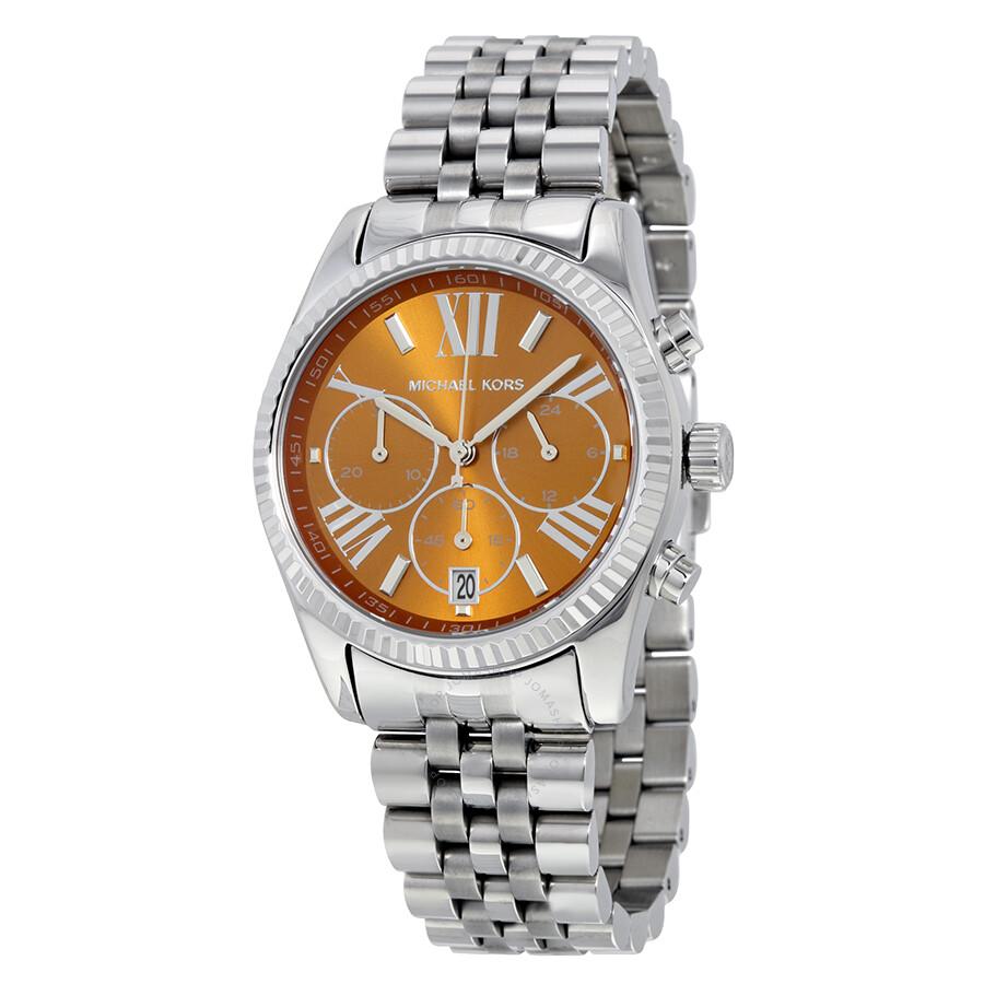 0c36c773d0da Michael Kors Lexington Chronograph Brown Dial Stainless Steel Ladies Watch  Item No. MK6221