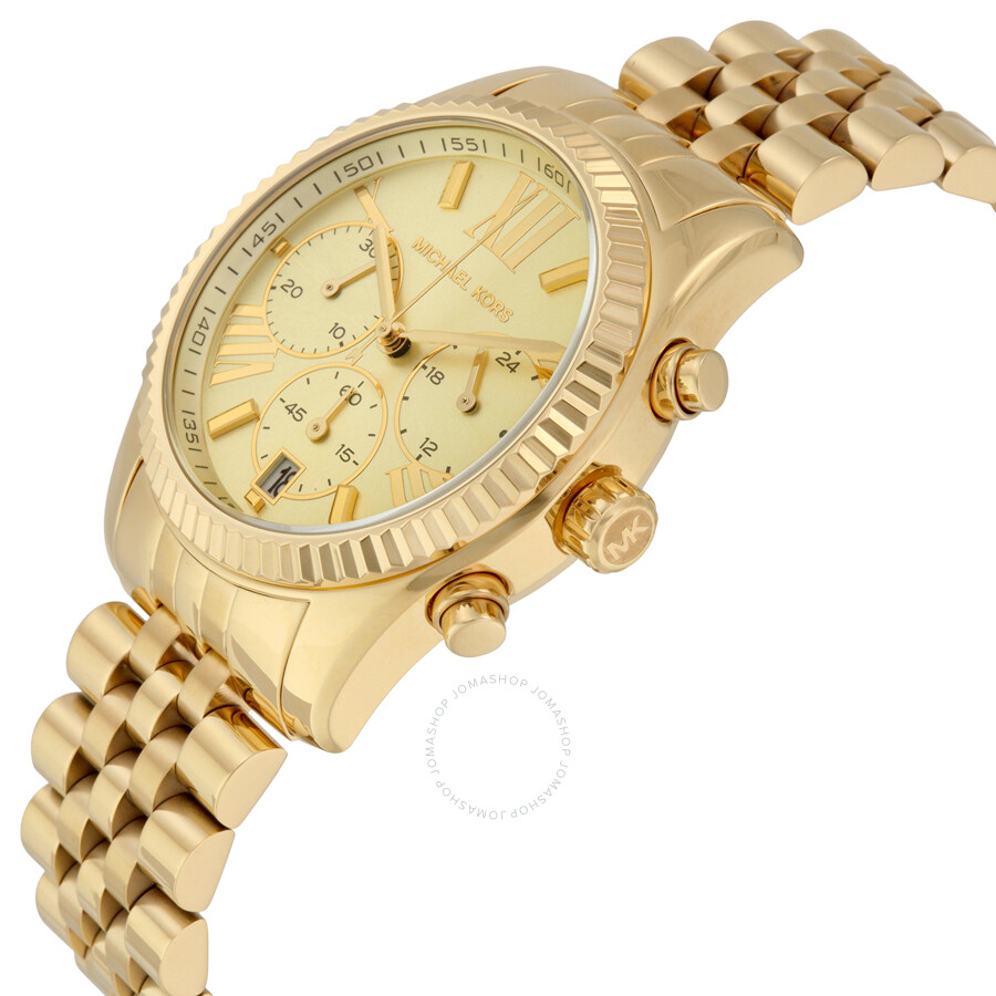 10167bf456be ... Michael Kors Lexington Chronograph Champagne Dial Gold PVD Ladies Watch  MK5556 ...