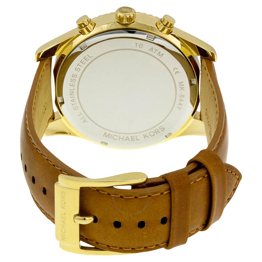 f40c2beb4 ... Michael Kors Lexington Gold Dial Chronograph Leather Men's Watch MK8447