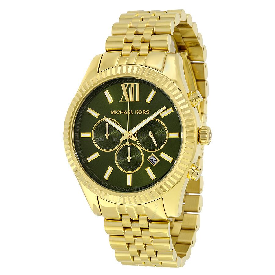 de0b40fe21d0 Michael Kors Lexington Chronograph Green Dial Men s Watch MK8446 ...