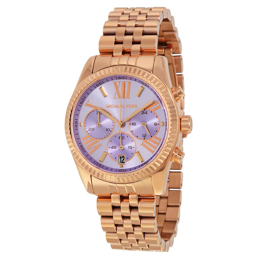 e8e970a5de6f Michael Kors Lexington Chronograph Purple Dial Rose Gold-tone Ladies Watch  MK6207 ...