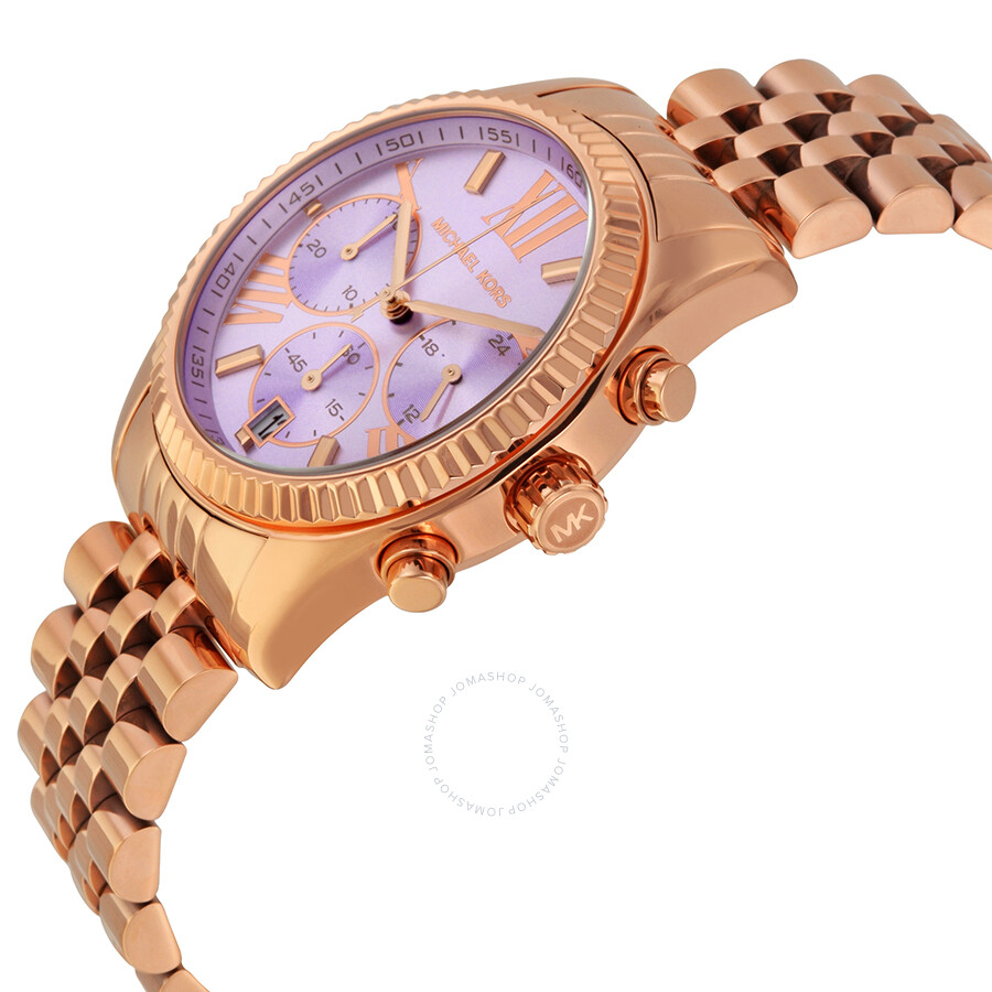 a70f622204b3 ... Michael Kors Lexington Chronograph Purple Dial Rose Gold-tone Ladies  Watch MK6207 ...
