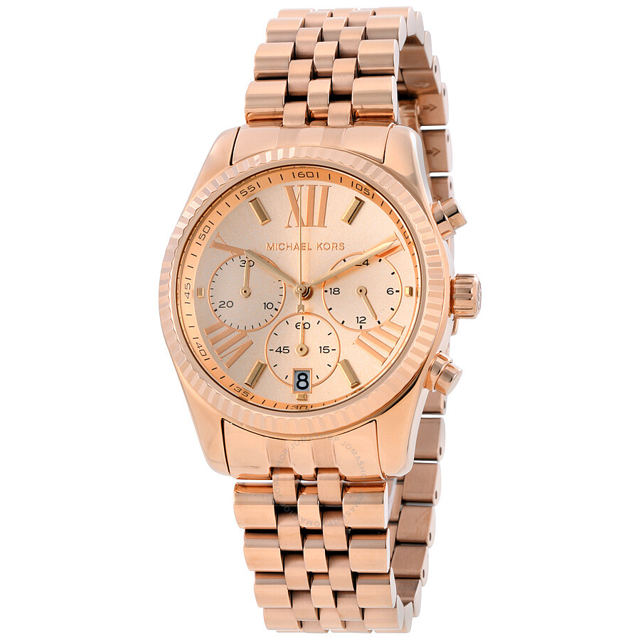 0213d3155adc Michael Kors Lexington Chronograph Rose Dial Ladies Watch MK5569 ...
