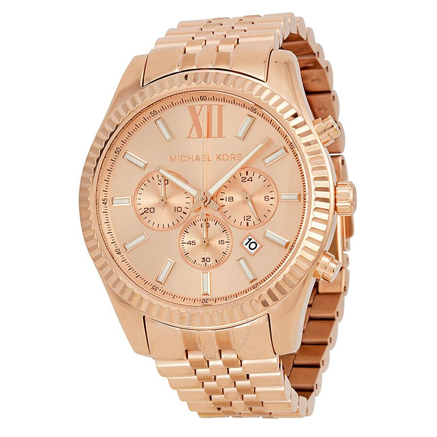 Michael Kors Lexington Chronograph Rose Dial Rose Gold plated Men's Watch MK8319