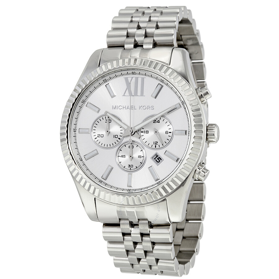 b24f3b3ab89b4 Michael Kors Lexington Chronograph Silver Dial Men s Watch MK8405 ...