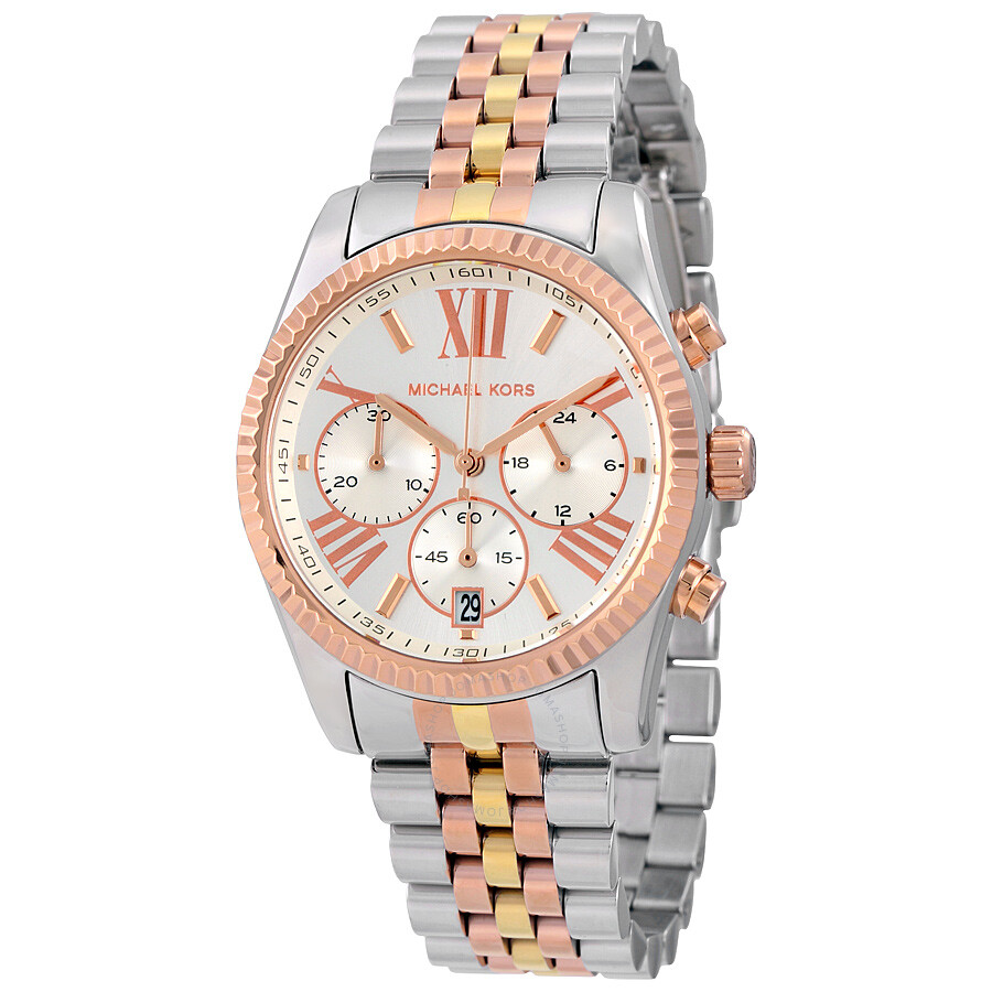 5bc585f2a48b Michael Kors Lexington Chronograph Tri-Tone Ladies Watch MK5735 ...