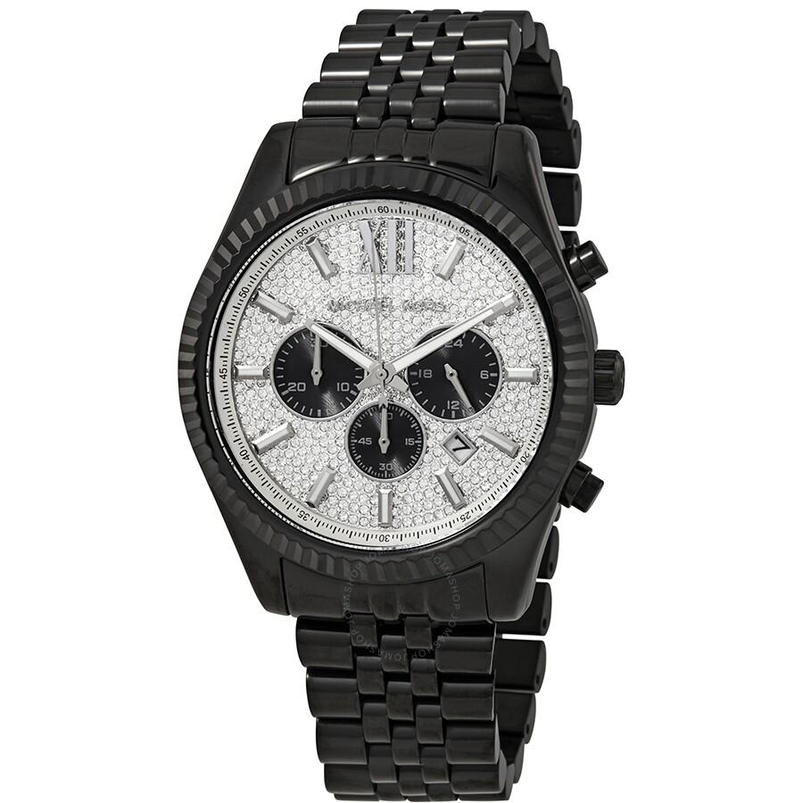 046c686181d9 Michael Kors Lexington Chronograph Silver-tone Crystal-Set Dial Men s Watch  MK8605 ...