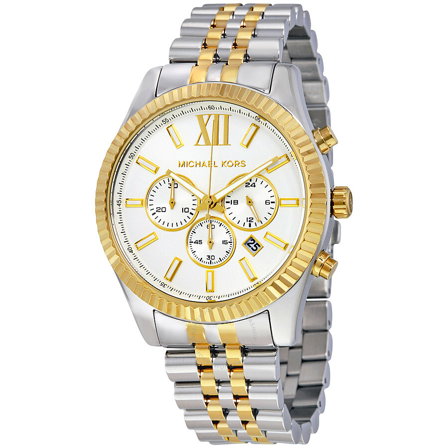 2e7b1c68cbe2d Michael Kors Lexington Chronograph White Dial Men s Watch MK8344 ...
