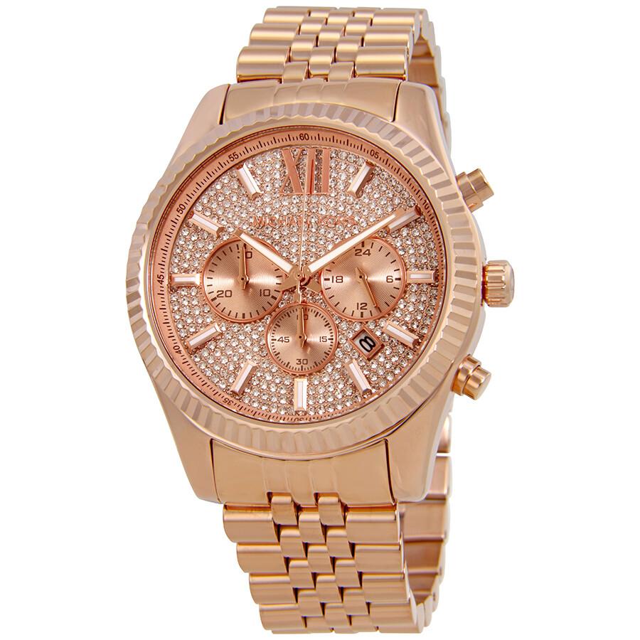 6c21233d0ac5 Michael Kors Lexington Crystal Pave Dial Ladies Chronograph Watch MK8580 ...