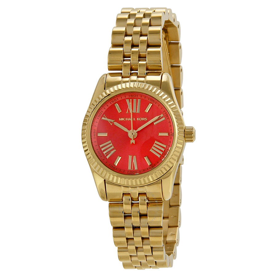 1f5553bb949c Michael Kors Lexington Petite Orange Dial Gold-tone Ladies Watch MK3284 ...