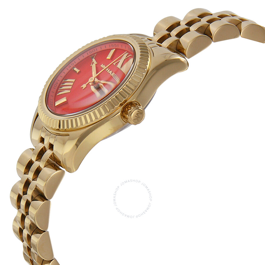 e1910ed03e0c ... Michael Kors Lexington Petite Orange Dial Gold-tone Ladies Watch MK3284  ...