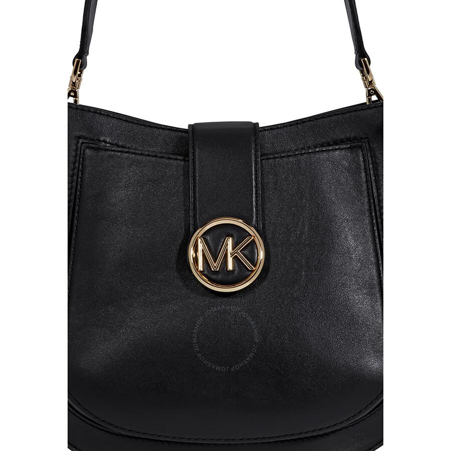d34e3be42d20 Michael Kors Lillie Medium Leather Shoulder Bag- Black - Michael ...