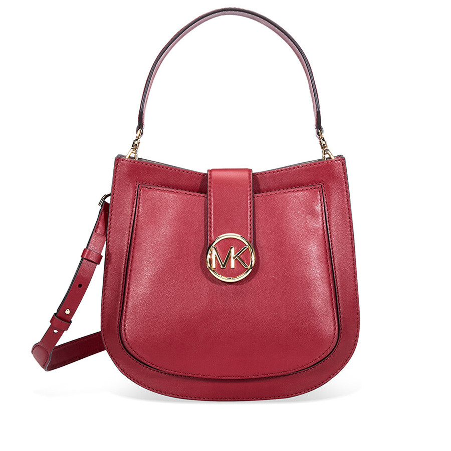 f1bd71fe04 Michael Kors Lillie Medium Leather Shoulder Bag- Maroon Item No.  30F8G0LM2T-550
